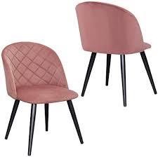 2er set esszimmerstuhl aus stoff samt stuhl retro design polsterstuhl mit rückenlehne metallbeine farbauswahl duhome 8052b farbe pink material samt