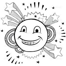 Happy Face Coloring Pages Printable Funny Smiley Page Kids