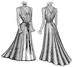 Victorian Fashion Illustration Dress Clip Art Black And White Antique