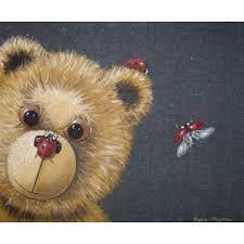tableau ourson chambre bébé tableau ours coccinelle bambins déco