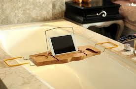 Bamboo Bathtub Caddy With Reading Rack by Bamboo Bath Caddy Bathtub Reading Stand Rack Adjustable Wine Book