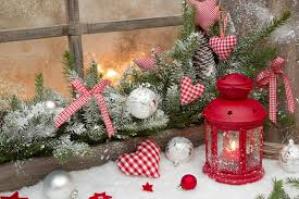 Download Red Rustic Christmas Decoration On Window Sill With Checked Stock Image