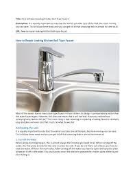 How To Repair A Leaky Kitchen Faucet How To Repair Leaking Kitchen Type Faucet