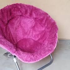 Hot Pink Fuzzy Saucer Chair