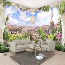 3d benutzerdefinierte tapeten blumen fototapeten natur landschaft blauen himmel stadt wände papiere für wohnzimmer sofa home decor eiffel turm