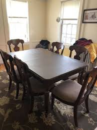 Dining Room Set Table With Extender And Padded Topper Six Chairs Hutch