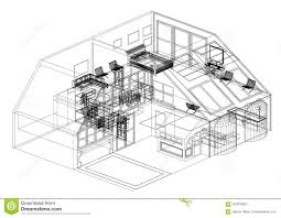 100 House Design By Architect Modern Blueprint Isolated Stock