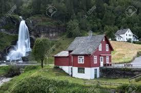 100 Water Fall House Red House Near Steinsdalsfossen Waterfall