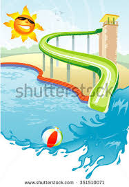 Summer Swimming Pool Slide Inviting Water Under The Sunny Sky