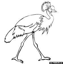 Grey Crowned Crane Coloring Page
