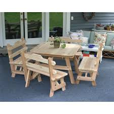creekvine designs cedar four square picnic table and bench set
