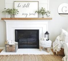 Modern Farmhouse Decor Living Room Ideas Floating Wood Mantle Be Still My Soul Fixer Upper Joanna Gaines White Brick Fireplace Rustic
