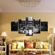 moderne hause oder wohnzimmer dekoration 5 panel vintage bild mall leinwand malerei schwarz weiß foto für wand kunstwerk