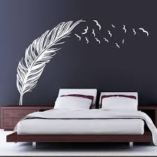 nouvelle chambre de plume autocollant mural oiseaux accueil decal