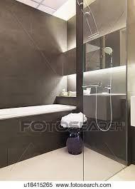 braun weiß modernes badezimmer stock fotografie