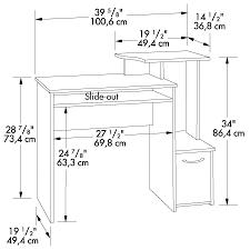 sauder beginnings cinnamon cherry computer desk w raised shelf 408726