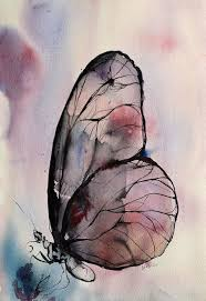 Purple Butterfly Watercolor Painting Original By AlisaAdamsoneArt