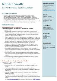 Global Business System Analyst Resume Model