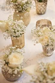 Cute Table Flower Arrangements Ideas On Diy Simple For Round Tables Gold Votives White Flowers Baby Breath Gypsohila Centrepiece Classic Wedding Fall With