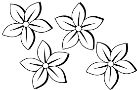 Four Flowers Black White Art Coloring Book Svg Colouringbook Org 1969px Png 245k