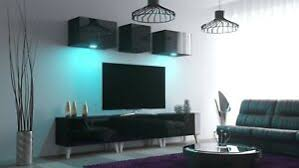 details zu moderne wohnwand lissabon nx 30 hochglanz led beleuchtung wohnzimmer klein