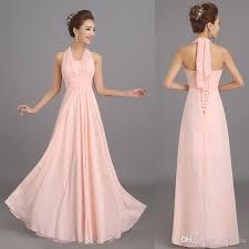 New Halter Peach Pink Long Chiffon Bridesmaid Dresses Cheap Wedding