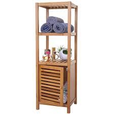 badregal hwc b18 badezimmer badschrank standregal mit tür bambus 110x36x34cm