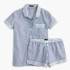 striped pajama set in end on end cotton women pajamas j crew