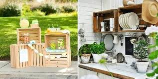 Wood Crates Ideas Wooden Kitchen Shelves Decoration Garden Table Decorating