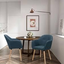 2er set esszimmerstühle aus leinen holzbeine dunkelblau