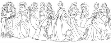 All Disney Princess With Beautiful Dresses Coloring Pages