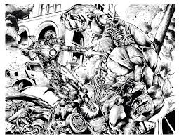 Free Coloring Page Adult Comics Ironman Hulk Mattjamescomicarts Impressive With Iron Man Vs