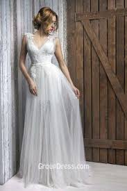 White Sleeveless V Neckline A Line Wedding Dress