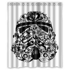robot check wars stormtrooper fabric shower curtains