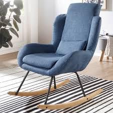 wohnling schaukelstuhl rocky blau design relaxsessel 75 x 110 x 88 5 cm sessel stoff holz schwingsessel mit gestell polster relaxstuhl