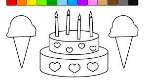 Learn Colors For Kids And Color This Ice Cream Cake Coloring Page