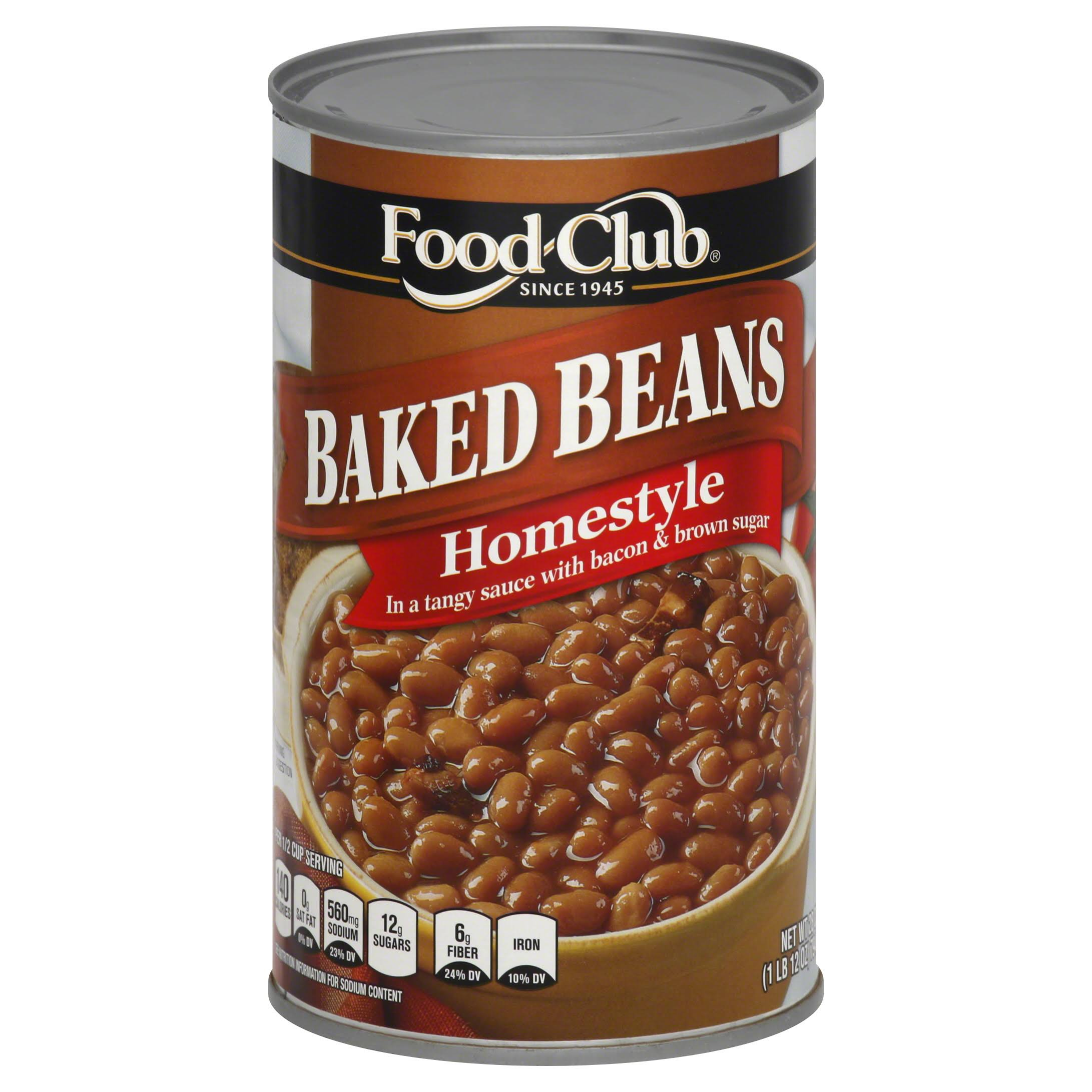 Food Club Baked Beans, Homestyle - 28 oz
