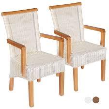 esszimmer stühle set mit armlehnen 2 stück rattanstühle weiß perth