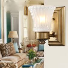 glass shade wrought iron bathroom wall sconce