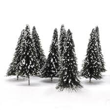 10pcs Small Christmas Trees With Snow Covered Dark Green Landscape Model Cedar For Xmas Docoration 12cm Scale175 In From Home Garden On