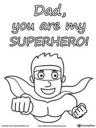 FREE Fathers Day Card You Are My Superhero Worksheet