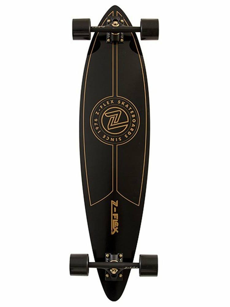 Z-Flex Pintail Longboard Skateboard Complete, Black/Gold, 38""