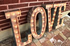 4 custom wedding letters marquee signs rustic industrial
