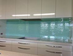 Aqua Textured Glass Kitchen Splashback Kitchensplashbacks