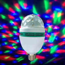 b22 3w rgb led stage rotate color light bulb disco