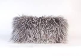 Gray Mongolian Fur Pillow BEST SELLER