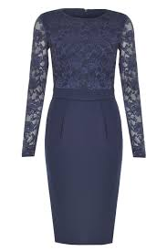 goddiva francine lace sleeve midi dress in navy iclothing