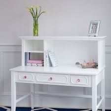 white desk with hutch and detailed drawer fronts pink crystal