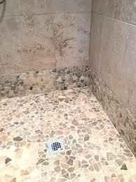 sliced pebble tile shower floor tile flooring that looks like wood