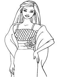 Doll Coloring Pages Style Dress Barbie